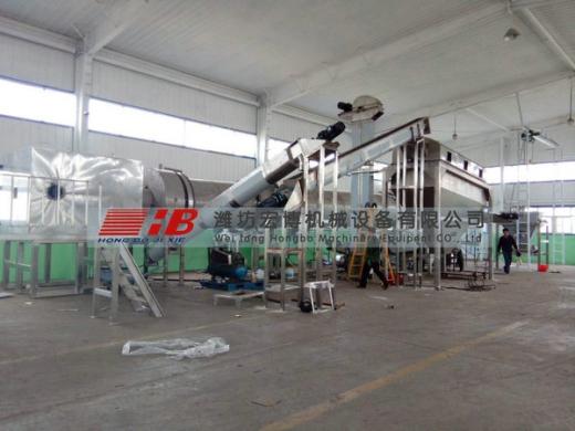 羊口工业盐转筒烘干机安装现场